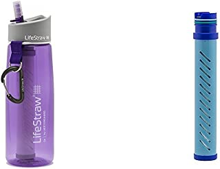 LifeStraw Go Water Bottle 2-Stage with Integrated 1 000 Liter LifeStraw Filter and Activated Carbon Purple w/ LifeStraw Go...
