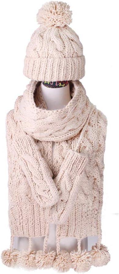 GPPZM Warm Gift Knit Hat Scarf Glove 3 Pcs Set Headwear Cap Thicken Mittens Lovely Pompons Shawl Crochet
