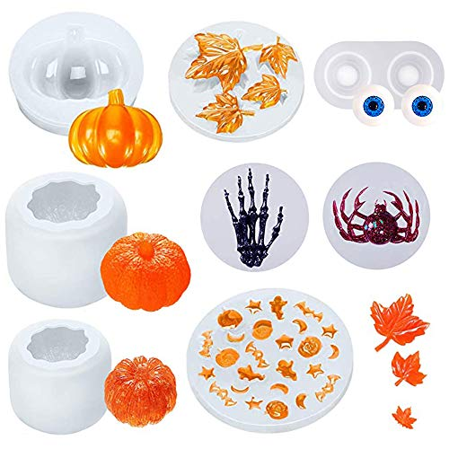 8 Pcs Halloween Thanksgiving Resin Molds Set, Including Thanksgiving Maple, 3D Pumpkin, Eyes, Spider, Skeleton Hand, Mixed Halloween Bat Ghost Mold for Halloween DIY Craft Making Decoration Supplies