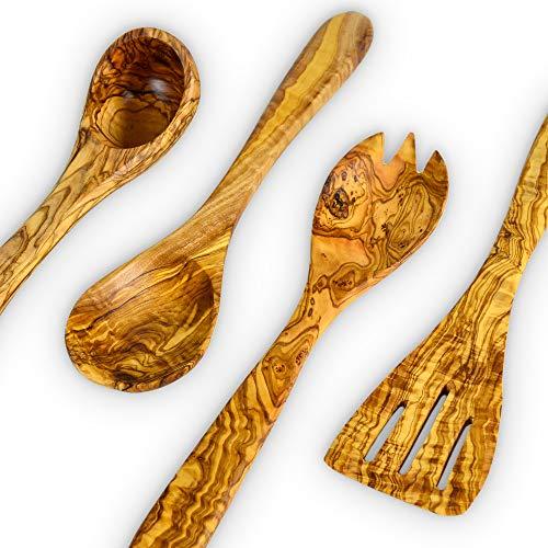 Darido Juego de utensilios de cocina - Cucharas de madera de olivo - Espátula, servidor de ensaladas, cucharón - Utensilios de cocina antiadherentes - Regalos para chefs y amantes de la comida