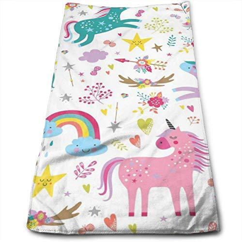 AEMAPE Unicornios - Toalla de Mano con Estampado Rosa, Suave y Absorbente, Grande, Multiusos para Manos, Cara, baño, Gimnasio, Hotel, SPA, 12 'x 27'