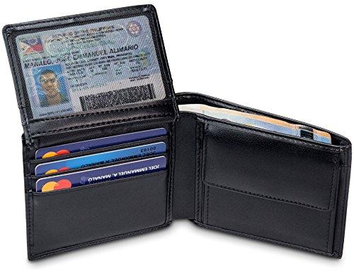 TRAVANDO  Portafoglio Uomo BERLIN  con protezione RFID | Porta Carte di Credito nero con Portamonete, Borsellino, Portafogli in formato Orizzontale | Porta Banconote | Wallet con Portamonete