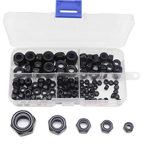 binifiMux 130Pcs Black Nylon Inserted Hex Self Locking Nuts Assortment Kit,M3/ M4/ M5/ M6/ M8 Black Self Clinching Nuts Assortment Kit