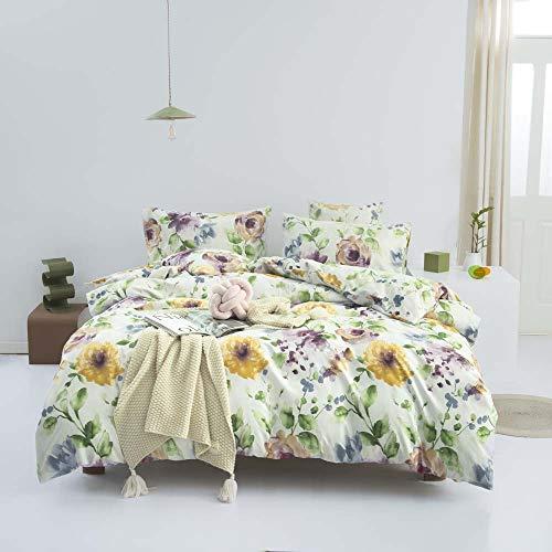 Nitwy - Juego de ropa de cama de 3 piezas, diseño de flores, transpirable, microfibra, funda de edredón con cierre de cremallera (200 x 200 cm), color amarillo, verde y morado
