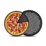 2 plateaux à pizza antiadhésifs (avec trous), PAWACA plateau à pizza en acier au carbone de 12 pouces pour la cuisson au four, va au lave-vaisselle