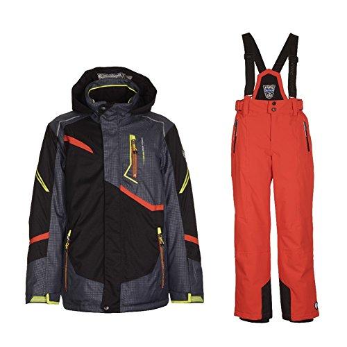 Killtec Skianzug Kinder Jungen und Mädchen Gute Passform, Wasserdicht und Winddicht, Farbe:Schwarz, Kinder Größen:152