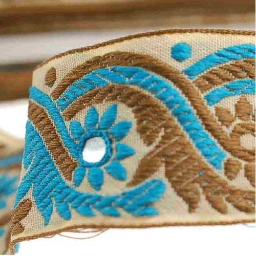 Neotrims Miroir salwar kemeez indien sari décoratif de ruban par la cour, 1 ou 4 m ou 16 m Longueur du sari Border. Bleu Turquoise et vert olive sur une base beige ruban?; avec miroir de travail broderie, Sequins, superbe., Polyester, Cream & Blue, 3 m