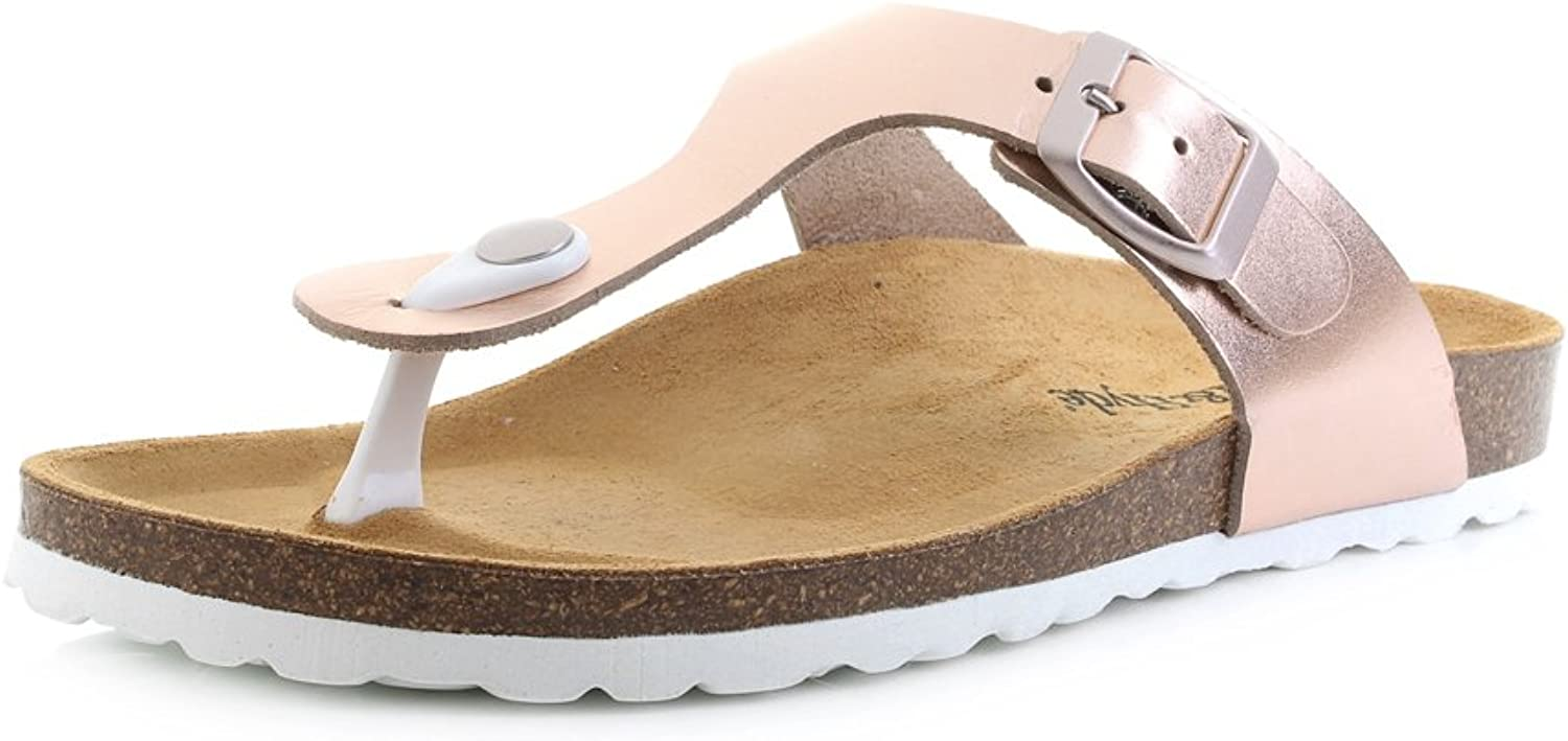 Oak and Hyde Womens San Sebastian pink gold Toe Post Leather Sandals Size