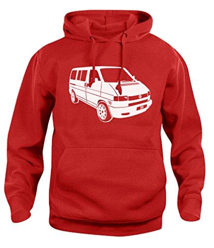 Herren Damen Kapuzenpullover VW T4 Campervan Camper Retro Van Hoody Sweatshirt Neu XS-XXL Gr. M, rot