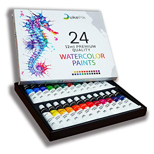 Watercolor Paint Set in Tubes - 24 Exciting Colors; These Premium Watercolors are Non-Toxic, Pigment Rich, Fade-Proof & Easy to Clean; Great for Kids & Professional Artists; From a Local Artist to You