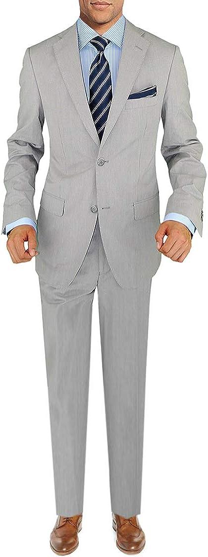 DTI BB Signature Italian Men's Two Button Suit Set 2 Piece Trim Fit Jacket Pant