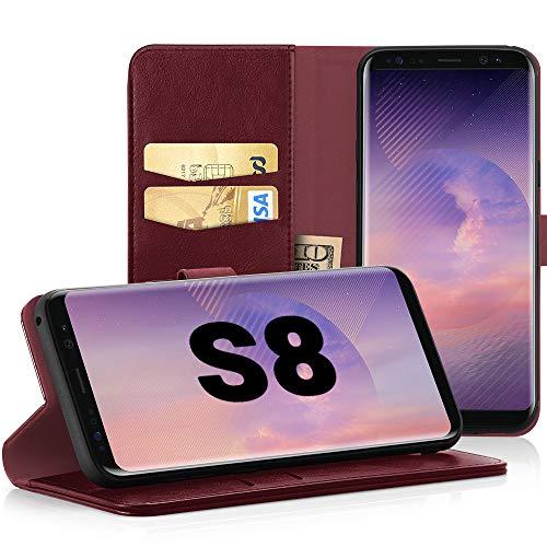 EasyAcc Hülle Hülle für Samsung Galaxy S8, Lederhülle PU Leder Flip Tasche Klappbar Schutzhülle Handyhülle mit [Ständer Funktion] Card Holder Cover Kompatibel mit Samsung Galaxy S8 - Wein Rot