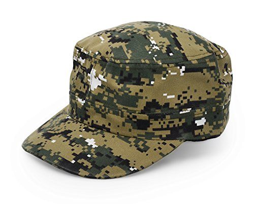 UltraKey Flat Top Baseball Cap, Men Women Cotton Baseball Twill Army Millitary Hat Cap Grey ACU Digital Camo Camouflage