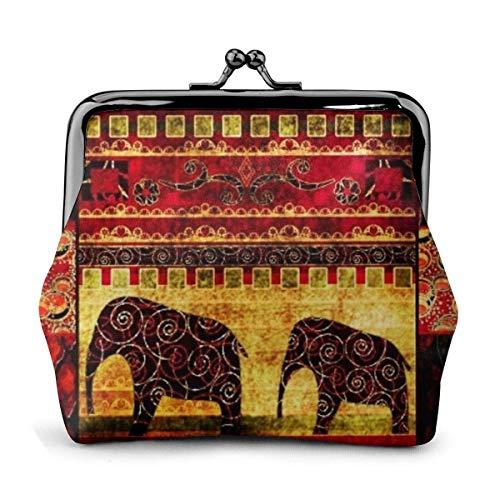 Monedero Elefante Africano Patchwork PU Cuero Exquisita...