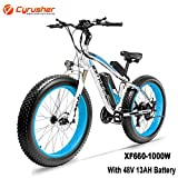 Cyrusher XF660 26inch Snow Beach Fat Tire e Bike 1000W Motor 48v 13ah Battery Electric Mountain Bike 7 Speeds Shifting System with Disc Brakes and Suspension Fork Removable Lithium Battery (Blue)