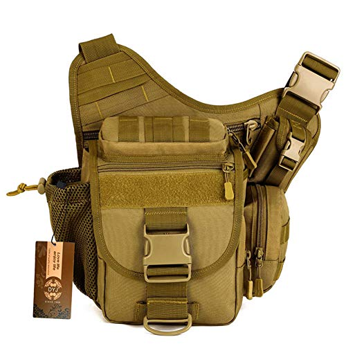 DYJ Multi-functional Tactical Messenger Bag Fishing Tackle Bag Molle Military Bag Shoulder pack Assault Gear Sling Pack EDC Camera Bags Crossbody Backpack
