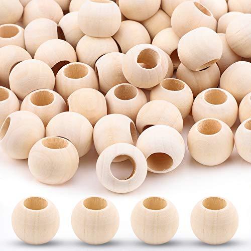 200 cuentas de madera natural con agujero grande sin terminar de madera suelta, cuentas espaciadoras de madera para el hogar, manualidades, fabricación de joyas, agujero de 20 mm x diámetro de 10 mm