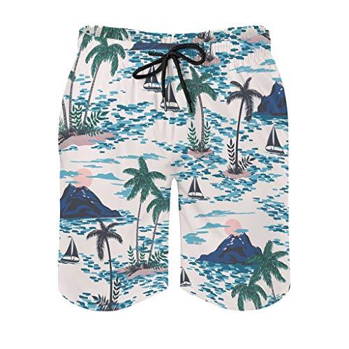 Knowikonwn Men Hawaiian Holiday Palm Trees Swim Trunk Brief - Short Pants White s