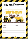 30 Construction Dump Trucks Birthday Invitations with Envelopes (30 Pack) - Kids Birthday Party Invitations for Boys