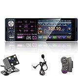 Autoradio Bluetooth Mains Libres 4 '' à écran Tactile capacitif Récepteur Radio FM/AM/RDS stéréo pour Voiture avec Double Port USB/AUX-in/Carte SD + caméra de recul + Commande au Volant