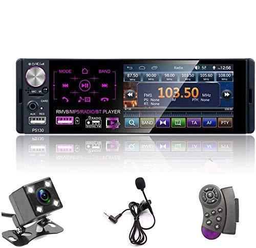 Oiliehu Radio de Coche Bluetooth de 1 DIN, Reproductor MP5 de Coche de 12V 4,1'con Llamadas Manos Libres, FM/USV/Aux-In/Tarjeta SD + Control Remoto y CáMara de Respaldo