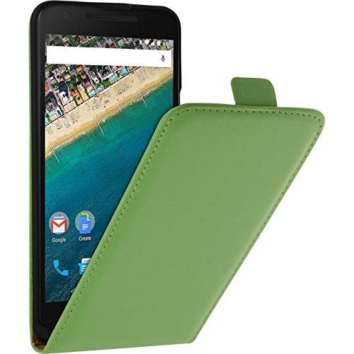 PhoneNatic Kunst-Lederhülle kompatibel mit Google Nexus 5X - Flip-Hülle grün + 2 Schutzfolien