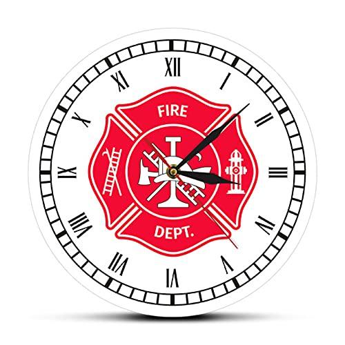 hufeng Reloj de Pared Bombero Cruz de Malta Reloj Vintage Primer respondedor Insignia del Departamento de Bomberos Logotipo Reloj de Pared con números Romanos Regalos de Bomberos