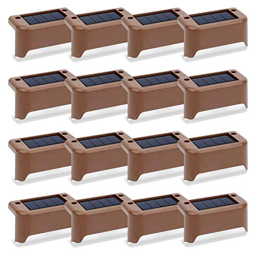 Solar Deck Lights 16 Pcs, Solar Step Lights Outdoor Waterproof Led Solar Fence Lamp for Steps,Fence,Deck,Railing and Stairs (Warm White)