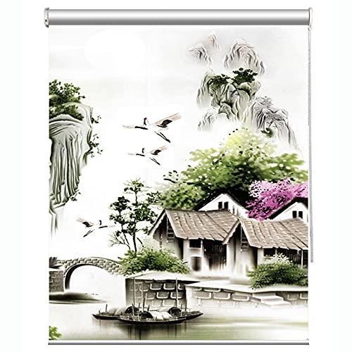 LIQICAI Cortina enrollable opaca, estilo chino, cortina enrollable de cocina, impermeable, instalación sin perforaciones, personalizable (color: multicolor, tamaño: 75 x 150 cm)