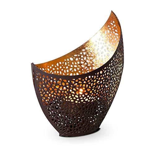 ROMINOX Portavelas de Metal – Acabado Satinado marrón y Dorado – 11 x 8 x 14,5 cm