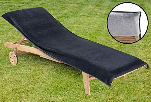 Delindo Lifestyle® Frottee Bezug für Gartenliege Uni ANTHRAZIT XXL, Schonbezug für Sonnenliegen, 83x200 cm, aus 100% Baumwolle