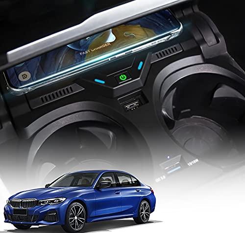 Paobiy Cargador inalámbrico para coche compatible con BMW Serie 3 Serie 4 2020 2021 panel de accesorios de consola central,10W carga rápida cargador de teléfono,para iPhone 8/11/Pro/X/XR, Samsung Note