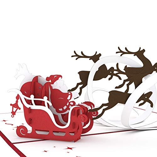 Lovepop Santa Sleigh Classic Pop Up Card - Pop Up Christmas Cards, Greeting Cards, 3D Card, Christmas Cards, Pop Up Holiday Card, Santa Card, 3D Card Christmas