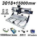 Fresadora CNC 3018 Pro GRBL Control DIY Mini 3 ejes Máquina para trabajar la madera Máquina de grabado CNC + ER11 + 15W Cabezal láser