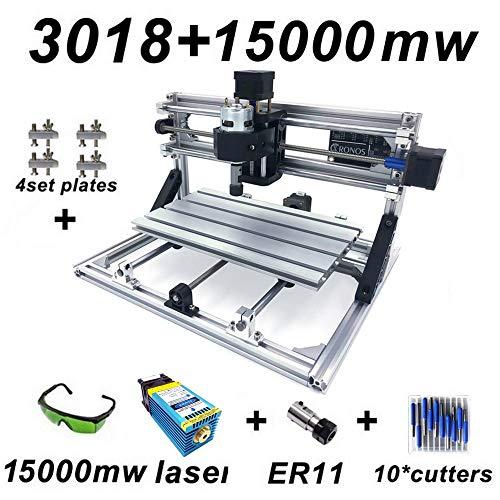 Engraving Machine Kit,DIY CNC Router Kits,Wood Carving Milling Engraving Machine,PCB Milling Machine Wood Carving Machine(CNC 3018 Mini) +15W Laser