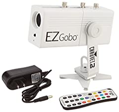 """Battery-powered LED gobo projector projects a custom image anywhere Manual zoom for short-throw or long-throw applications Includes 10 """"Wedding-Ready"""" gobos perfect for adding romantic accent Magnetic base affixes to most metal surfaces, eliminatin..."""