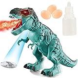 dinosauro elettronico ambulante, poophuns spruzzatura di nebbia d'acqua depone uova giocattolo di dinosauro suoni ruggenti dinosauro di controllo per ragazze dei ragazzi 3-6 (verde)