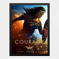ハンギングペインティング - ワンダーウーマン Wonder Women 5のポスター 黒フォトフレーム、ファッション絵画、壁飾り、家族壁画装飾 サイズ:33x24cm(額縁を送る)