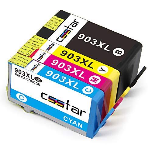 CSSTAR Compatible Cartuchos de Tinta Reemplazo para HP 903XL 903 XL Multipack para OfficeJet Pro 6950 6960 6970 All-in-One Impresora - Negro, Cian, Magenta, Amarillo
