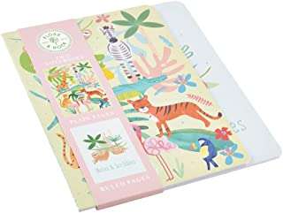 Floss & Rock, Pair of Notebooks, 1 Ruled and 1 Plain, Jungle, 8.25 x 6 inches (38P3391)