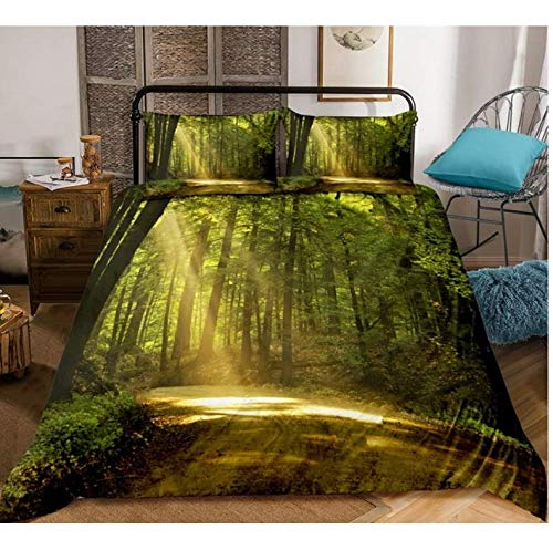 NTT Duvet Cover 3D Beach And Forest Bedclothes Natural Scenery Bedding Sets Duvet Cover With Pillowcases 150 * 200Cm
