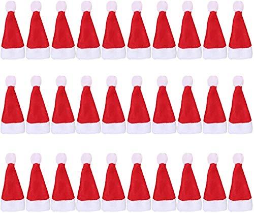 Migaven Mini Rosso Santa Cappello, 30 Pezzi Mini Cappelli di Babbo Natale Lollipop Cappello per Decorare Bottiglia di Vino, Lecca-Lecca, Artigianato, Bambola, per Decorazione Natalizia