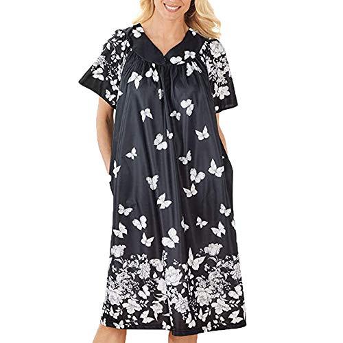 HUANSUN Vestido Informal Suelto con Bolsillos Camisón para Mujer Ropa de Dormir Camisón Chándal Vestido de Manga Corta para Mujer, Negro, L