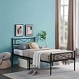 N / A 3ft Metallbett, Metallbettgestell Slatted Cloud Nachttisch mit großem Stauraum Gästebett Jugendbett, Erwachsenenbett 90 x 190 cm (schwarz) - 3