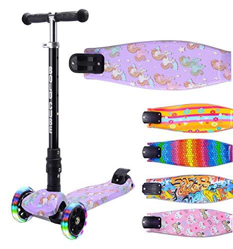 BOLDCUBE Dreirad Roller mit PU LED Räder - ab etwa 5 Jahre - 4 Stufen Einstellbare Höhe - Faltbar - der sichere Premium Kinder Roller - TÜV geprüft Kickboard Tretroller (Einhornland!)