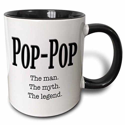 3dRose Pop the man the myth the legend Mug, 11 oz, Black