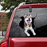 Ocean Gift Siberian Husky Car Decals, Dog Car Stickers Pack of 2 - Realistic Siberian Husky Stickers for Car Windows, Walls Series 49 Size 10' x 10'