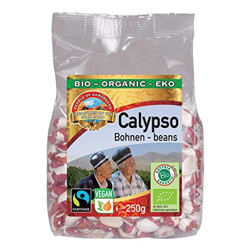 Bio Calypso Bohnen glutenfrei 1,5 kg Fairtrade gentechnikfrei, wunderschöne aromatische rot-weiße weisse Yin Yang Bohnen aus Usbekistan 6x250g