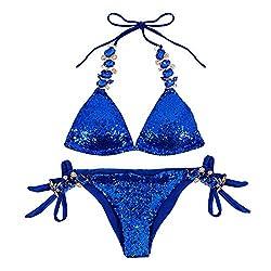 Blue-2 Triangle Bikini Set 2 Pieces Cross High Neck Halter