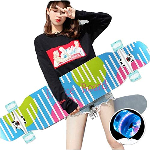cdsnxore Longboard Skateboard Cruiser komplettes Board, sowie PU-Blinkräder, Ahorn Longboard Jungen und Mädchen Bürste Street Dance Board Anfänger Erwachsenen Teen Allrad-Skateboard (127 Linie)